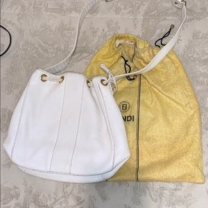 Fendi white leather bag